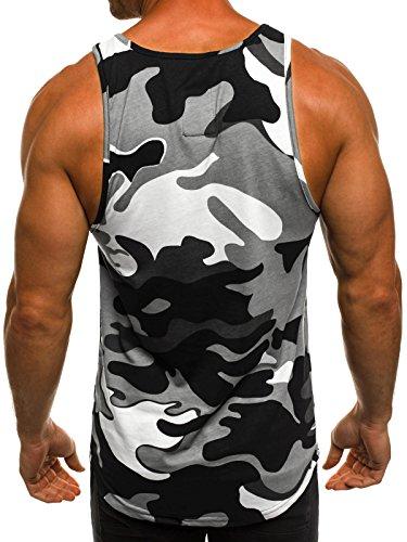 OZONEE Herren Tanktop Tank Top Tankshirt T-Shirt mit Print Unterhemden Ärmellos Weste Muskelshirt Fitness BREEZY 171321 Grau
