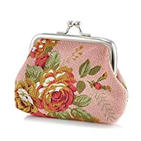 HshDUti Canvas Women Coin Purse,Vintage Flower Hasp Clutch Buckle Cash Card Holder Bag Pink