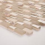 10cm x 10cm Muster. Perlmutt, Glas und Naturstein Mosaik Fliesen Muster mit Ziegelstein Optik (MT0147 sample)
