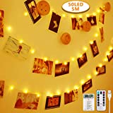 Anpro 50 LED Luci Foto con Mollette - Telocomando Striscia Luci Portafoto con 8 Modalità di Illuminazione Regolabile Catena Luminosa per Decorazione Camere Festa di Matrimonio Compleanno