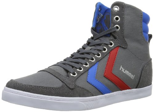 hummel HUMMEL SLIMMER STADIL HIGH, Sneaker uomo, Grigio (Castle Rock/Ribbon Red/Brilliant Blue), 45 EU