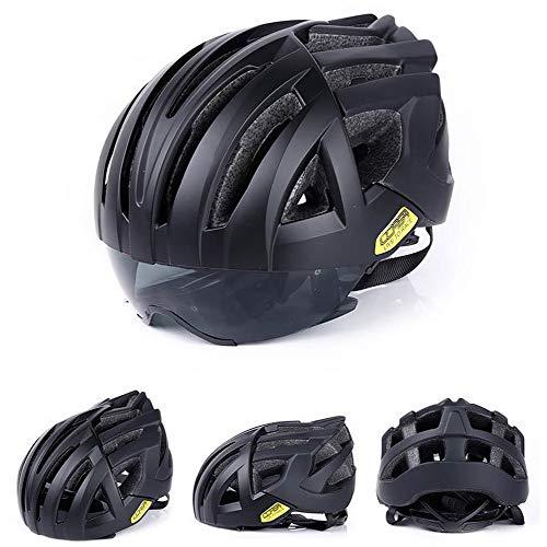 NSQY Schutzbrille Fahrradhelm, One-Piece Forming - Stilvoll und schön, leicht und bequem atmungsaktiv, bieten Sicherheit für das Reiten, 3 Linsen,Black,M