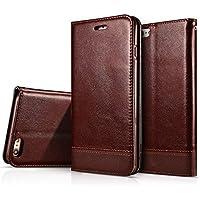 HualuBro Coque iPhone 6 Plus / 6S Plus, Premium Étui en Cuir PU Leather Wallet Portefeuille Housse Flip Case Cover avec Cartes Slots pour iPhone 6 Plus / 6S Plus Smartphone (Marron)