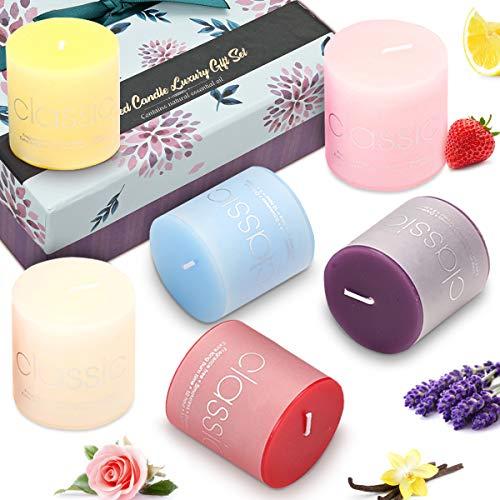 Janolia candele profumate, 6pcs candele di aromaterapia colorate con prezioso scatola regalo, naturale, sicuro con meno fumo brucia lunga di 10 ore, perfetto per casa/ ufficio/ spa/ yoga/ matrimonio