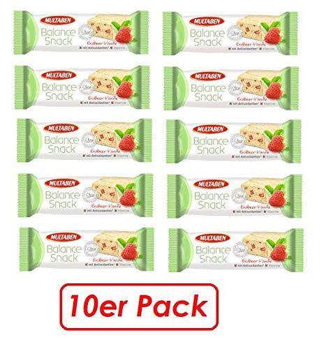 Energie-Riegel, balance snack, Kohlenhydrate, Eiweiß & Vitaminen, Erdbeere-Vanille, 10er Pack (10 x 38 g)