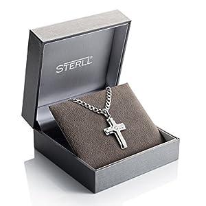 STERLL Herren Hals-Kette Sterlingsilber 925 Kreuz-Anhänger aus Sterlingsilber 925 mit Swarovski Elements Geschenkverpackung, Geburtstag Geschenk für Männer