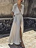 Swallowuk Sommerkleider Damen Sexy Maxi Kleid Tiefer V-Ausschnitt Abendkleid Kurze Ärmel Strandkleid Party Split Lang Kleider (XL, Grau)