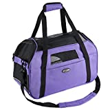 Purple Pet Carrier for Dogs Cats Comfort Travel Tote Soft Sided Bag with Mat