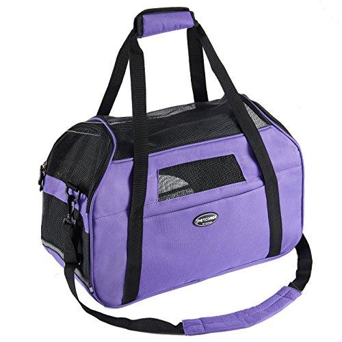 Lila Transporttasche Für Hunde & Katzen Komfort Airline Genehmigte ReiseTote Weich-seitig Tasche Mit Matte