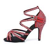 HROYL Chaussures de Danse avec Strass Latine pour Femmes Nouvelles Tango Valse Fête Sociale Salsa Chaussures De Mariage,FRYCL373-8.5-428,Rouge,39EU