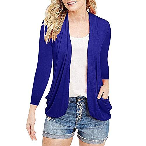WWricotta Womens Open Front Fly Away Cardigan Sweater Long Sleeve Plus Pockets Loose Drape(Blau,S) -