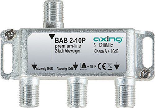 Axing BAB 2-10P 2-fach Abzweiger 10dB Kabelfernsehen CATV Multimedia DVB-T2 Klasse A+, 10dB, 5-1218 MHz metall