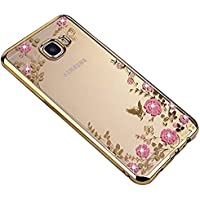 SevenPanda Galaxy S7 Edge Hülle, Floral Schmetterling Secret Garden Design Pattern mit Bling Diamond Clear Weiche Flexible TPU Gel Slim Zurück Hülle für Samsung Galaxy S7 Edge - Gold