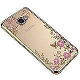 SevenPanda Galaxy S7 Hülle, Floral Schmetterling Secret Garden Design Pattern mit Bling Diamond Clear Weiche Flexible TPU Gel Slim Zurück Hülle für Samsung Galaxy S7 - Gold