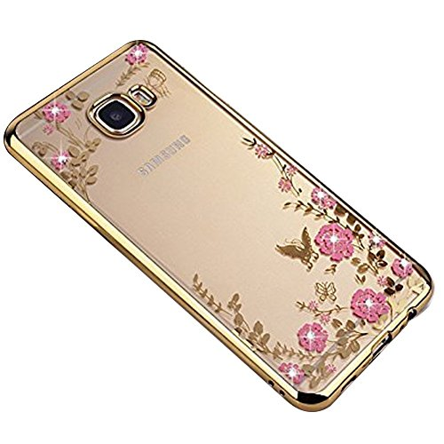 SevenPanda Galaxy S8+ Plus 2017 Hülle, Floral Schmetterling Secret Garden Design Pattern mit Bling Diamond Clear Weiche Flexible TPU Gel Slim Zurück Hülle für Samsung Galaxy S8+ Plus 2017 - Gold