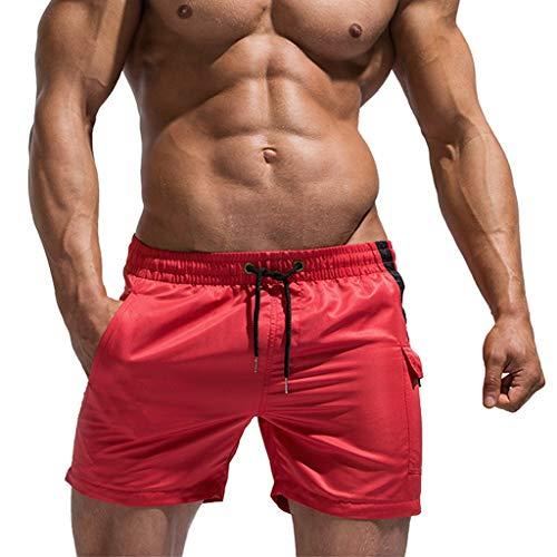 MONDHAUS Herren Shorts Sports Badehose für Männer Beachshorts Sommer Schwimmhose Groß Größe Badehosen Trocknen Schnell Strandhosen Sommersport Badestrandshorts,rot,XXL -