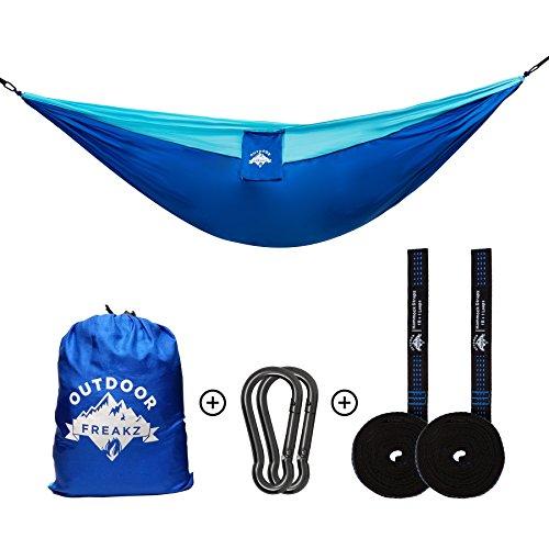 OUTDOOR FREAKZ Outdoor Hängematte bis 300kg + Karabiner & Schwerlastgurte, ideal für Wandern, Camping und Survival