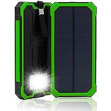 15000 mAh, Dual USB Cargador Solar portátil Backup Power Bank para exteriores de Panel Solar Cargador con LED de luz de emergencia para iPhone Samsung HTC y otros Smartphone(Verde)