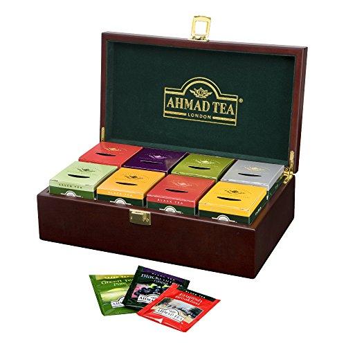 Ahmad Tea - Tea Keeper | Teebox - Dekorative Aufbewahrungsbox aus Holz mit 8 x 10 Teebeutel (Ahmad Tea English 1)