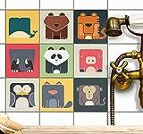 Fliesenmuster Deko-Folie Badfliesen Kinder | Fliesenfolie Sticker Aufkleber Klebefolie Fliesen Badezimmer renovieren Dekoration Küche | 15x15 cm - Motiv Zoo Maniac - 9 Stück