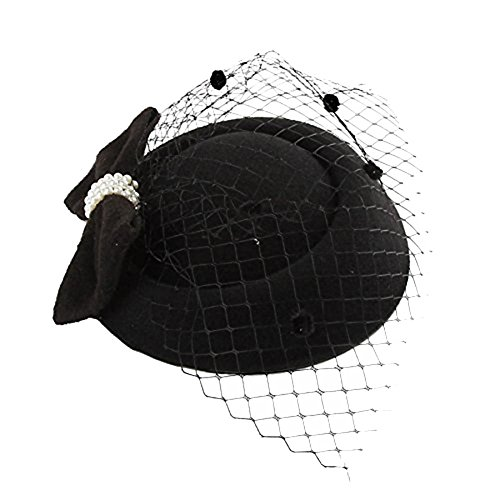 nge mit Spitzenschleier und Schleife aus Eichenfleecefutter im Retro-Stil Haarschmuck Hut Haarspange mit Spitzenschleier und Schleife aus Eichenfleecefutter im Retro-Stil ()