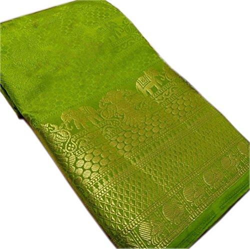 NIRJA CREATION WOMEN'S MULTI COLOR LATEST TRADITIONAL PARTYWEAR BANARASI SAREE(12 Color) (Green)