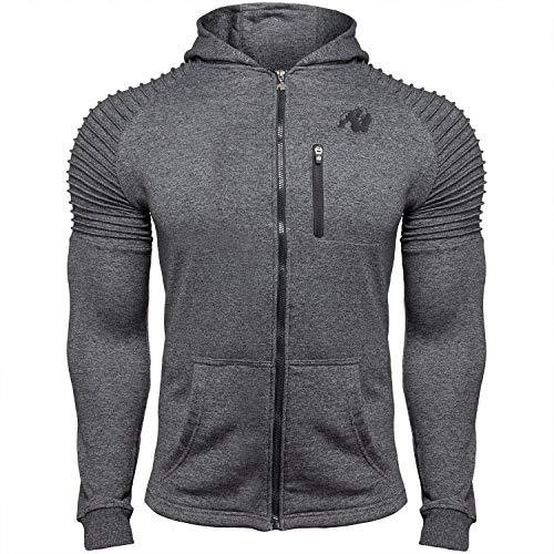 GORILLA WEAR Delta Hoodie - Fitness und Bodybuilding Zip Hoodie Grau XL