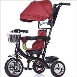Babywagen Kind Indoor Outdoor Kleine Dreirad Fahrrad Boy's Bike Girl's Bike für 6 Monate -6 Jahre Old Baby Drei Räder Trolley Markise, Solid Plastic Wheel (Rot, Schwarz) BabyWagen