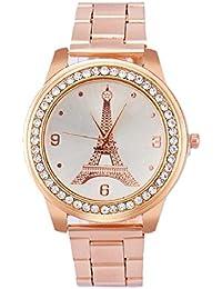 Tongshi Mujer Inoxidable Acero Cuarzo Cuero Muñeca Redondo Reloj ( oro rosa )