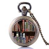 Taschenuhr, antikes Punk-Bücherregal für Herren und Damen und Jungen, Quarzuhrwerk, Kettenanhänger