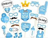 CHSYOO 25x It's A Boy blau Junge Foto Requisiten Photo Booth Props Photobooth Dekoration für Babyparty Baby Dusche Taufe Baby Geburtstag Babyshower Party