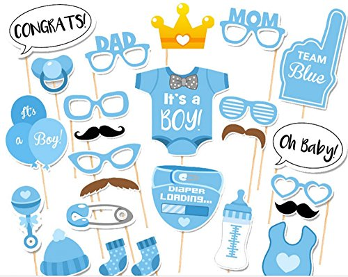 (Syoo 25x It's A Boy blau Junge Foto Requisiten Photo Booth Props Photobooth Dekoration für Babyparty Baby Dusche Taufe Baby Geburtstag Babyshower Party)