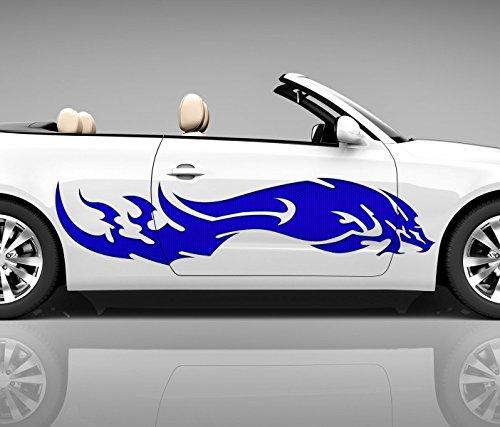 2x Seitendekor 3D Autoaufkleber Drache blau Kopf Digitaldruck Seite Auto Tuning bunt Aufkleber Seitenstreifen Airbrush Racing Autofolie Car Wrapping Tribal Seitentribal CW157, Größe Seiten LxB:ca 120x30cm
