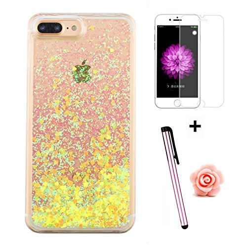 TOYYM - Cover per iPhone 7 Plus 5,5, trasparente con brillantini e liquido, include 1 pellicola protettiva e 1 pennino capacitivo, plastica, Color 27#, Apple iPhone 7 Plus 5.5 Color 17#