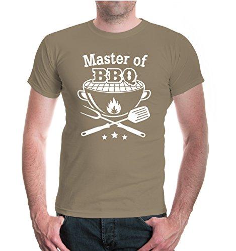 buXsbaum® T-Shirt Master of BBQ Khaki-White