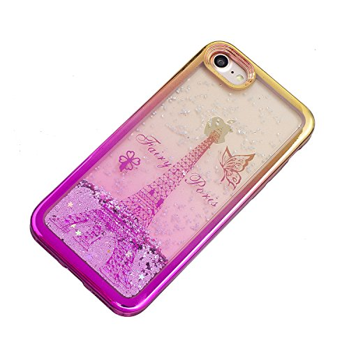 Cover iPhone 5 5S, Custodia iPhone SE, Vandot Silicone Trasparente Morbida Clear Gel Caso, Ultra Slim Antiurto Anti-Graffio Bumper Case con Disegni + Universale Supporto Stand-Animale Delfino Sabbie 1