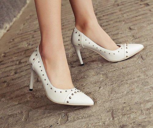 Mee Shoes Damen spitz mit Nieten Geschlossen Pumps Weiß