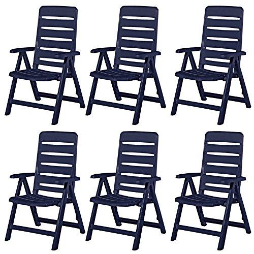 6 Kettler Nizza Gartenstühle Gartenmöbel Sessel Klappsessel in blau