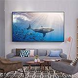 NIMCG Vie Marine Vie Peinture à la Main en Tissu Peinture Affiche à l'huile et Impression décoration de la Maison Abstrait Salon Murale (sans Cadre) A1 60x80CM...