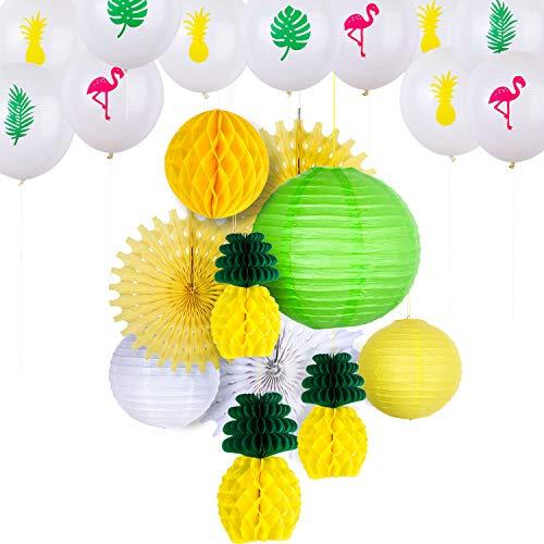 30 Stücke Hawaiian Party Hängende Dekorationen Ananas Wabenkugeln Papierfächer Handwerk Laternen und Flamingo Ananas Tropische Blätter Luftballons für Sommer Themen Party