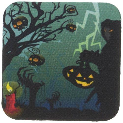 CST _ 152295Anne Marie Baugh Halloween-Halloween Szene mit Sensenmann mit Kürbisse, Kerze, und Totenköpfen auf einer Scary Baum mit Lightening-Untersetzer, set-of-8-Soft