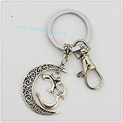 Colgante Cresent Luna Yoga Jewelry Plata Om Llavero