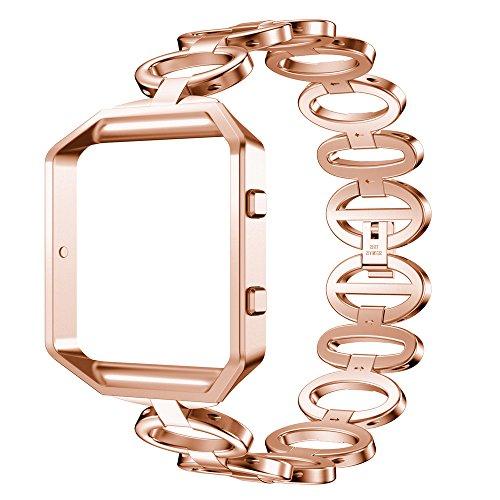 Fitbit Blaze Gurt, WEANT FB106Luxus Edelstahl Quick Release Armband Smart Watch Band Strap + Schutzhülle für Fitbit Blaze, Kinder Herren damen, rose gold