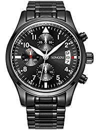 SONGDU Herren Quarz Unisex Armbanduhr mit Mode Schwarz Edelstahl-Armband beiläufige klassische, Chronograph Analog Kalender Datum Luminous Ziffer White Hand