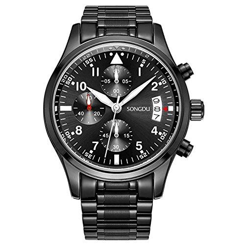 SONGDU-Herren-Quarz-Unisex-Armbanduhr-mit-Mode-Schwarz-Edelstahl-Armband-beilufige-klassische-Chronograph-Analog-Kalender-Datum-Luminous-Ziffer-White-Hand