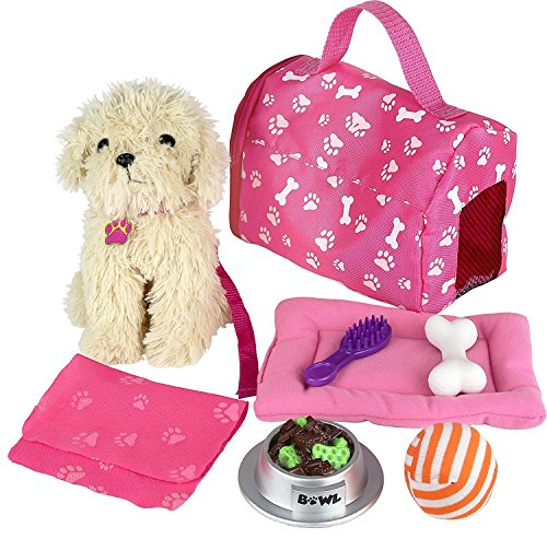 Click n' Play 9 piece Doll Puppy Set and Accessories. Perfect For 18 inch American Girl Dolls by Click N' Play