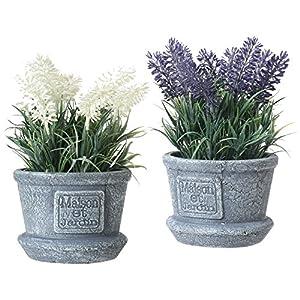 MyGift – Plantas artificiales decorativas de lavanda en color blanco y morado en macetas con textura de cemento