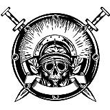 tzxdbh Crâne Halloween Épée Bouclier Autocollant Punk Décalque Horreur Halloween Diable Affiche De Voiture Fenêtre Art Stickers Muraux Décorations Murales 58 * 67Cm