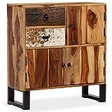 Festnight Sideboard Seitenschrank Beistellschrank aus Massives Sheesham-Holz Stahlfüße Wohnzimmer Schrank 70 x 30 x 80 cm