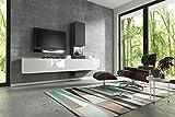 Wuun  Wohnwand Muro in Weiß– Grau Hochglanz/Verschiedene Farben/Beleuchtung Optional/Schrankwand Anbauwand TV-Board, RGB LED-Beleuchtung